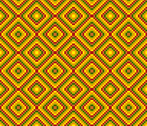 BN11 - Summer Romp Diamonds in Red - Yellow - Orange - Green fabric by maryyx on Spoonflower - custom fabric