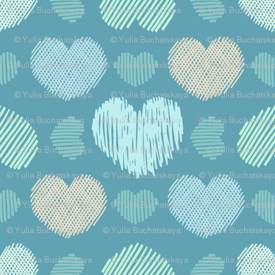 Doodle hearts on teal background