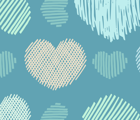 Doodle hearts on teal background fabric by yulia on Spoonflower - custom fabric