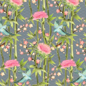 Bamboo, Birds and Blossoms on grey - extra small