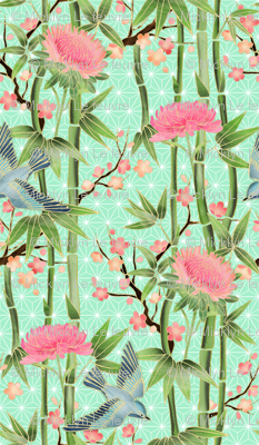 Bamboo, Birds and Blossoms on mint - extra small