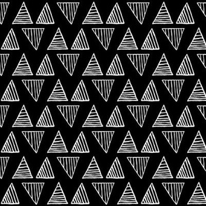 White Triangles on Black - Small