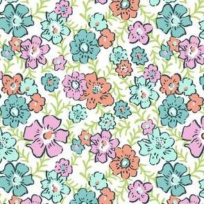 Ditsy Floral - Aqua