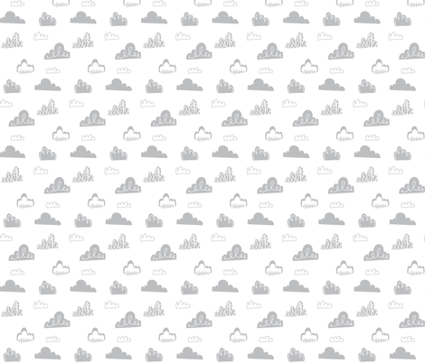 Doodle Clouds - Grey fabric by stitch+press on Spoonflower - custom fabric