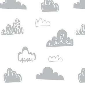 Doodle Clouds - Grey