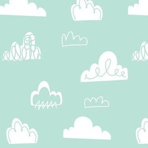 Doodle clouds - Aqua