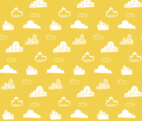 Doodle Clouds - Yellow fabric by stitch+press on Spoonflower - custom fabric