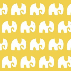 Elephant Parade - White on Yellow