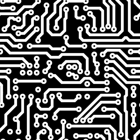 Circuits // Black & White fabric by thinlinetextiles on Spoonflower - custom fabric