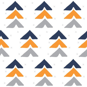 orange + navy + grey