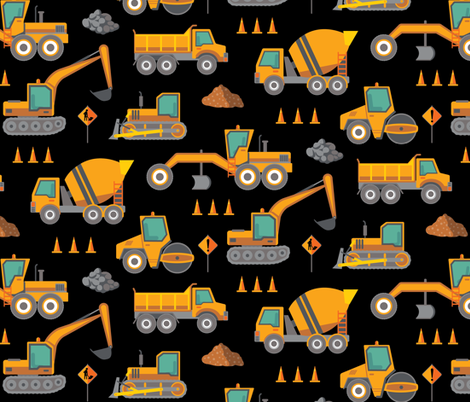 Construction: Roadworks Scatter - Large - Black fabric by samalah on Spoonflower - custom fabric