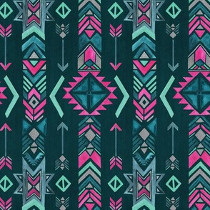 Ethnic Arrow - Cyan / Magenta