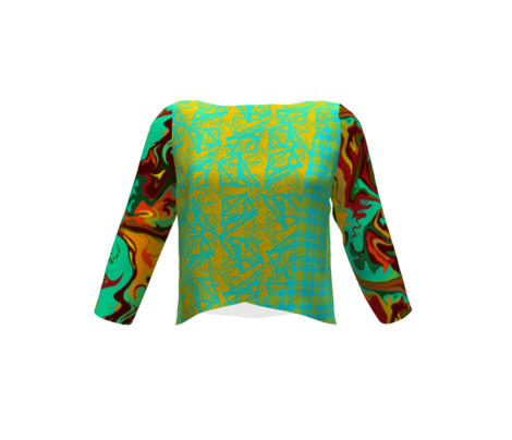 BN12 -  LG - Abstract Marbled Mystery  in Orange - Green - Turquoise - Yellow  - Rust