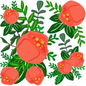 Red Mod Roses Floral Print
