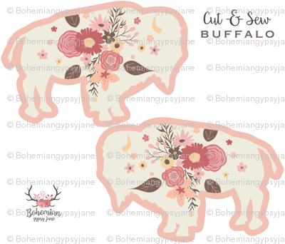 Floral Buffalo Cut & Sew Plushie