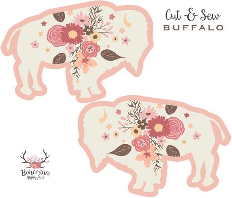 Floral Buffalo Cut & Sew Plushie fabric by bohemiangypsyjane on Spoonflower - custom fabric