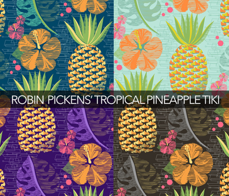 Tropical Pineapple Tiki-SFpalette12 3/4