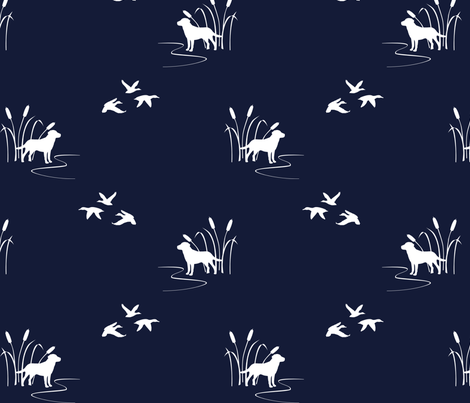 Dog Ducks hunting scene Dark Navy fabric by mrshervi on Spoonflower - custom fabric