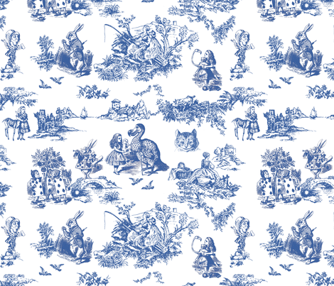 alice blue  toile de jouy large fabric by debi_birkin on Spoonflower - custom fabric