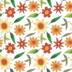 bright floral pattern with green leaves