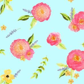 Watercolor Floral //  Aqua