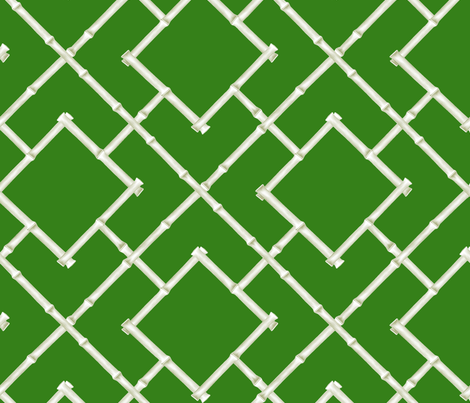 Osaka Bamboo Trellis // Green fabric by willowlanetextiles on Spoonflower - custom fabric