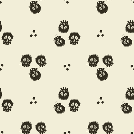 Bitty Skulls - pepper fabric by rochelle_new on Spoonflower - custom fabric