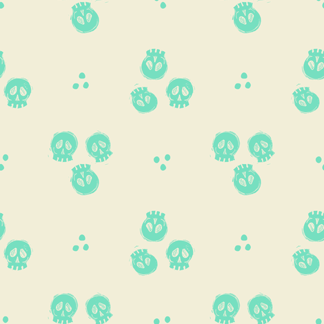 Bitty Skulls - mint fabric by rochelle_new on Spoonflower - custom fabric