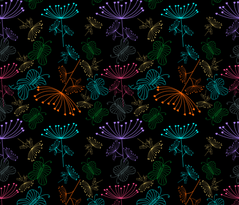 Neon Butterflies fabric by puggy_bubbles on Spoonflower - custom fabric