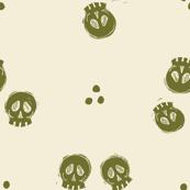 Bitty Skulls - olive