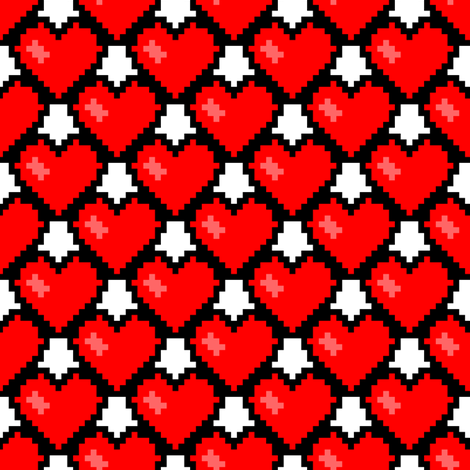 8-Bit Heart ~ Feel The Love ~ Libertine and Royal Scandal on White fabric by peacoquettedesigns on Spoonflower - custom fabric