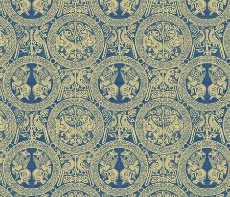 Critters  Blue Gold fabric by wanderingaloud on Spoonflower - custom fabric