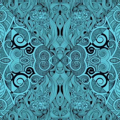 Teal Doodle Diamonds fabric by magicmamahandmade on Spoonflower - custom fabric