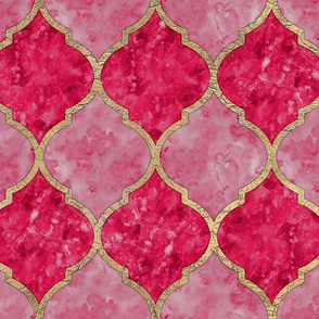 Rose & Faux Gold Quatrefoil - Seamless