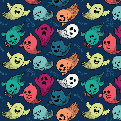 Cute cartoon ghosts fabric by penguinhouse on Spoonflower - custom fabric