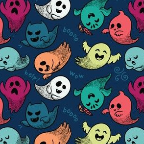 Cute cartoon ghosts