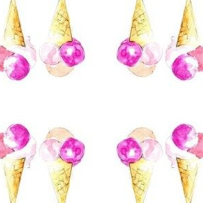 Colorful ice cream summer illustration watercolor