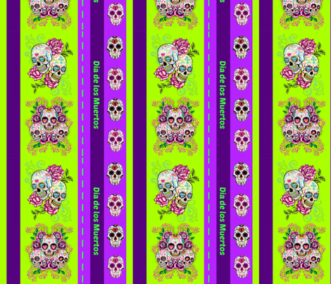 Day of the dead - purple lime fabric by floramoon on Spoonflower - custom fabric
