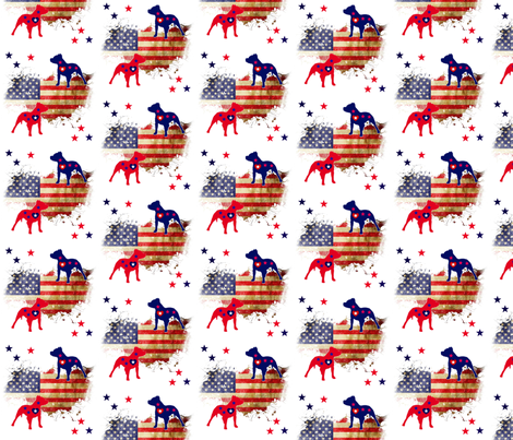 Stars and Stripes Pit Bulls fabric by floramoon_designs on Spoonflower - custom fabric