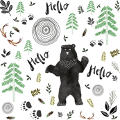 Hello Woodland Watercolor Bear