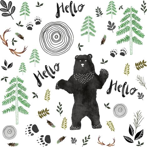 Hello Woodland Watercolor Bear fabric by shopcabin on Spoonflower - custom fabric