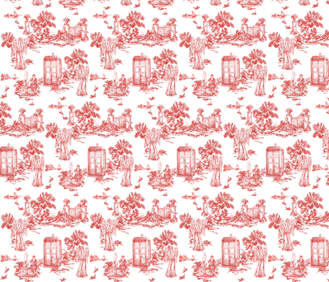 HALF SIZE weeping angels red smaller fabric by debi_birkin on Spoonflower - custom fabric