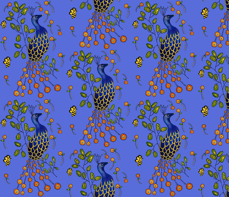 Pfau Purdy Peacock fabric by sewindigo on Spoonflower - custom fabric