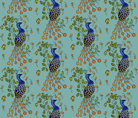 Pfau  Purdy Peacock Flagstone  fabric by sewindigo on Spoonflower - custom fabric