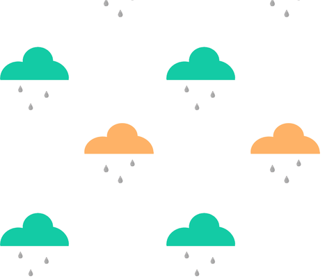 Rain_Clouds_Orange_and_Mint fabric by googoodoll on Spoonflower - custom fabric