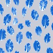 little leaves - cobalt/white/mist