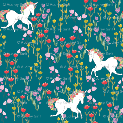 Unicorns in flower field in teal - TINY SCALE