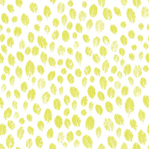 little leaves - chartreuse/white