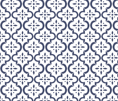 Navy & White Ikat Moroccan Flower fabric by sugarfresh on Spoonflower - custom fabric