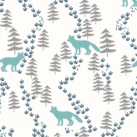 Fall forest foxes in teal - bigger scale fabric by thislittlestreet on Spoonflower - custom fabric